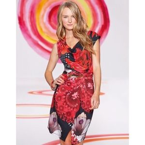 [Desigual] Uralet Cowl Neck Knotted Floral Dress
